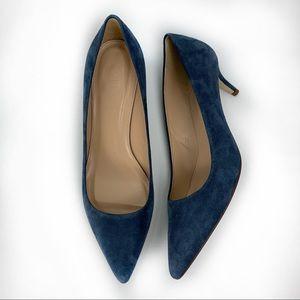 J. Crew grey/ blue Dulci kitten heels. Size 9